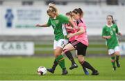 4 April 2017; Saoirse Noonan of Republic of Ireland in action against Dona Patterson of Scotland during the UEFA Women's Under 19 European Championship Elite Round match between Republic of Ireland and Scotland at Market's Field in Limerick. Photo by Eóin Noonan/Sportsfile