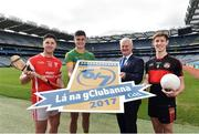 5 April 2017; Lúthchleas Gael Aogán Ó Fearghail with from left David Treacy of Dublin and Cuala, Michael Quinlivan of Tipperary and Clonmel Commercials and Anthony Williams of Louth and Dreadnots in attendance at the Lá na gClubanna 2017 Launch at Croke Park in Dublin. Photo by Matt Browne/Sportsfile