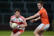 5 April 2017; Michael McEvoy of Derry in action against Jack Rafferty of Armagh during the EirGrid Ulster GAA Football U21 Championship Semi-Final match between Derry and Armagh at Celtic Park in Derry. Photo by Oliver McVeigh/Sportsfile