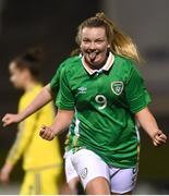 6 April 2017; Saoirse Noonan of Republic of Ireland celebrates after scoring her side's second goal during the UEFA Women's Under 19 European Championship Elite Round match between Republic of Ireland and Ukraine at Market's Field in Limerick. Photo by Eóin Noonan/Sportsfile