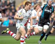 25 September 2011; Paddy Jackson, Ulster, on his way to scoring his side's first try. Celtic League, Ospreys v Ulster, Liberty Stadium, Swansea, Wales. Picture credit: Steve Pope / SPORTSFILE