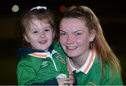 6 April 2017; Saoirse Noonan of Republic of Ireland with her cousin and mascot for the game Searlaíth O'Callaghan during the UEFA Women's Under 19 European Championship Elite Round match between Republic of Ireland and Ukraine at Market's Field in Limerick. Photo by Eóin Noonan/Sportsfile