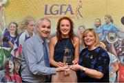7 April 2017; Niamh Cotter, UCC and Cork, receiving her LGFA HEC All Star Award from Marie Hickey, President of the LGFA, and Donal Barry from the Ladies HEC at Croke Park Hotel on Friday, April 7th. The LGFA HEC All Star Awards recognised the best performers from the O'Connor Cup weekend recently hosted by GMIT at the Ballyhaunis Centre of Excellence and Elvery's McHale Park. The Croke Park Hotel in Dublin, Jones' Road, Dublin 3. Photo by Piaras Ó Mídheach/Sportsfile