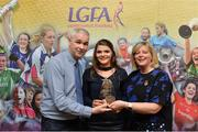 7 April 2017; Marie Ambrose, UCC and Cork, receiving her LGFA HEC All Star Award from Marie Hickey, President of the LGFA, and Donal Barry from the Ladies HEC at Croke Park Hotel on Friday, April 7th. The LGFA HEC All Star Awards recognised the best performers from the O'Connor Cup weekend recently hosted by GMIT at the Ballyhaunis Centre of Excellence and Elvery's McHale Park. The Croke Park Hotel in Dublin, Jones' Road, Dublin 3. Photo by Piaras Ó Mídheach/Sportsfile