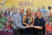 7 April 2017; Róisín Phelan, UCC and Cork, receiving her LGFA HEC All Star Award from Marie Hickey, President of the LGFA, and Donal Barry from the Ladies HEC at Croke Park Hotel on Friday, April 7th. The LGFA HEC All Star Awards recognised the best performers from the O'Connor Cup weekend recently hosted by GMIT at the Ballyhaunis Centre of Excellence and Elvery's McHale Park. The Croke Park Hotel in Dublin, Jones' Road, Dublin 3. Photo by Piaras Ó Mídheach/Sportsfile