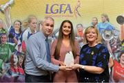 7 April 2017; Eimear Meaney, UCC and Cork, receiving her LGFA HEC All Star Award from Marie Hickey, President of the LGFA, and Donal Barry from the Ladies HEC at Croke Park Hotel on Friday, April 7th. The LGFA HEC All Star Awards recognised the best performers from the O'Connor Cup weekend recently hosted by GMIT at the Ballyhaunis Centre of Excellence and Elvery's McHale Park. The Croke Park Hotel in Dublin, Jones' Road, Dublin 3. Photo by Piaras Ó Mídheach/Sportsfile