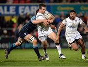 7 April 2017; Jared Payne of Ulster is tackled by Ellis Jenkins of Cardiff Blues  during the Guinness PRO12 Round 19 match between Ulster and Cardiff Blues at the Kingspan Stadium in Belfast. Photo by Oliver McVeigh/Sportsfile