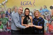 7 April 2017; Doireann O'Sullivan, UCC and Cork, receiving her LGFA HEC All Star Award from Marie Hickey, President of the LGFA, and Donal Barry from the Ladies HEC at Croke Park Hotel on Friday, April 7th. The LGFA HEC All Star Awards recognised the best performers from the O'Connor Cup weekend recently hosted by GMIT at the Ballyhaunis Centre of Excellence and Elvery's McHale Park. The Croke Park Hotel in Dublin, Jones' Road, Dublin 3. Photo by Piaras Ó Mídheach/Sportsfile