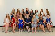 7 April 2017; Award winners, back row, from left, Róisín Phelan, UCC and Cork, Eimear Meaney, UCC and Cork, Doireann O'Sullivan, UCC and Cork, Niamh Cotter, UCC and Cork, Marie Ambrose, UCC and Cork, Laurie Ryan, UL and Clare, Mairéad Daly, Waterford IT and Offaly, and Sarah Rowe, DCU and Mayo. Front row, from left, Caoimhe McGrath, UL and Waterford, Louise Ward, UL and Galway, Eimear Scally, UL and Cork, Marie Hickey, President of the LGFA, Aisling McCarthy, UL and Tipperary, Lisa Crowley, UL and Cork, and Rosemary Courtney, Athlone IT and Monaghan, after receiving their LGFA HEC All Star Awards at Croke Park Hotel on Friday, April 7th. The LGFA HEC All Star Awards recognised the best performers from the O'Connor Cup weekend recently hosted by GMIT at the Ballyhaunis Centre of Excellence and Elvery's McHale Park. The Croke Park Hotel in Dublin, Jones' Road, Dublin 3. Photo by Piaras Ó Mídheach/Sportsfile