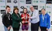 7 April 2017; Mary Dunne, Swim Ireland President, and Cllr Howard Mahony, acting deputy Mayor of Fingal County Council, with Open Women's 100m Breaststroke medallists, from left, Niamh Coyne of NCD Tallaght Swim Club, Co. Dublin, silver, Mona McSharry of Marlins Swim Club, Co. Donegal, gold, and Aisling Haughey of Aer Lingus Swim Club, Co. Dublin, bronze, during the 2017 Irish Open Swimming Championships at the National Aquatic Centre in Dublin. Photo by Sam Barnes/Sportsfile