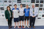 7 April 2017; Mary Dunne, Swim Ireland President, and Cllr Howard Mahony, acting deputy Mayor of Fingal County Council, with Open Men's 100m Breaststroke medallists, from left, Darragh Greene of UCD Swim Club, Co. Dublin, silver, Nicholas Quinn of Castlebar Swim Club, Co. Mayo, gold, and Jamie Graham of Bangor Swim Club, Co. Down, bronze, during the 2017 Irish Open Swimming Championships at the National Aquatic Centre in Dublin. Photo by Sam Barnes/Sportsfile