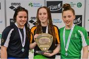 7 April 2017; Open Women's 400m Indiviudal Medley medallists, from left, Rebecca Reid of Ards Swim Club, Co. Down, silver, Shannon Russell of Lurgan Swim Club, Co. Armagh, gold, and Amelia Kane of Ards Swim Club, Co. Down, bronze,  during the 2017 Irish Open Swimming Championships at the National Aquatic Centre in Dublin. Photo by Sam Barnes/Sportsfile