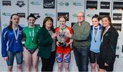 7 April 2017; Mary Dunne, Swim Ireland President, and Paul McDermott, High Performance Director for Sport Ireland, with Open Women's 100m Freestyle medallists, from left, Niamh Kilgallen of Claremorris Swim Club, Co. Mayo, silver, Bethy Firth of Ards Swim Club, Co. Down, Danielle Hill of Larne Swim Club, Co. Antrim, gold, Kate Kavanagh of UCD Swim Club, Co. Dublin, bronze, and Natasha Hofton, University of Sterling, during the 2017 Irish Open Swimming Championships at the National Aquatic Centre in Dublin. Photo by Sam Barnes/Sportsfile