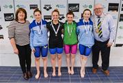 7 April 2017; Cllr Howard Mahony, acting deputy Mayor of Fingal County Council and Mary Dunne, Swim Ireland President, with Open Women's 50m Butterfly medallists, from left, Shauna O'Brien of UCD Swim Club, Co. Dublin, silver, Lauren Mills University of Sterling, Emma Reid of Ards Swim Club, Co. Down, gold, and Jane Roberts of UCD Swim Club, Co. Dublin, bronze,  during the 2017 Irish Open Swimming Championships at the National Aquatic Centre in Dublin. Photo by Sam Barnes/Sportsfile