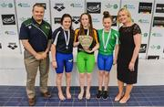 7 April 2017; Liam Harbison, Director of Sport Ireland Institute, and Sarah Keane, CEO of Swim Ireland, with Open Women's 400m Indiviudal Medley medallists, from left, Rebecca Reid of Ards Swim Club, Co. Down, silver, Shannon Russell of Lurgan Swim Club, Co. Armagh, gold, and Amelia Kane of Ards Swim Club, Co. Down, bronze,  during the 2017 Irish Open Swimming Championships at the National Aquatic Centre in Dublin. Photo by Sam Barnes/Sportsfile