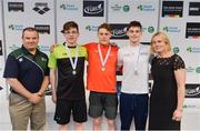 7 April 2017; Liam Harbison, Director of Sport Ireland Institute, and Sarah Keane, CEO of Swim Ireland, with Open Men's 400m Indiviudal Medley medallists, from left, Cadan McCarthy of Mallow Swim Club, Co. Cork, silver, Ben Griffin of NCD Trojan, gold, and Cillian Melly of NCL Castlebar, Co. Mayo, bronze, during the 2017 Irish Open Swimming Championships at the National Aquatic Centre in Dublin. Photo by Sam Barnes/Sportsfile