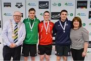 7 April 2017; Cllr Howard Mahony, acting deputy Mayor of Fingal County Council and Mary Dunne, Swim Ireland President, with Open Men's 50m Butterfly medallists, from left, Calum Bain, University of Sterling, silver, Conor Brines of Larne Swim Club, Co. Antrim, gold and Brian E O'Sullivan of NAC Swim Club, Co. Dublin, bronze, during the 2017 Irish Open Swimming Championships at the National Aquatic Centre in Dublin. Photo by Sam Barnes/Sportsfile