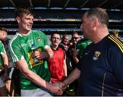 8 April 2017; Wexford manager Séamus McEnaney congratulates John Heslin of Westmeath after the Allianz Football League Division 4 Final match between Westmeath and Wexford at Croke Park in Dublin. Photo by Brendan Moran/Sportsfile