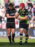8 April 2017; Dan Biggar of Ospreys and Josh van der Flier of Leinster following the Guinness PRO12 Round 19 match between Ospreys and Leinster at the Liberty Stadium in Swansea, Wales. Photo by Stephen McCarthy/Sportsfile