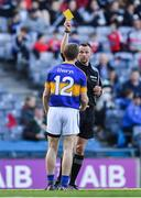 8 April 2017; Brian Fox of Tipperary is shown a yellow card by referee Anthony Nolan during the Allianz Football League Division 3 Final match between Louth and Tipperary at Croke Park in Dublin. Photo by Brendan Moran/Sportsfile