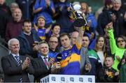 8 April 2017; Tipperary captain Brian Fox lifts the Division 3 trophy after the Allianz Football League Division 3 Final match between Louth and Tipperary at Croke Park in Dublin. Photo by Brendan Moran/Sportsfile