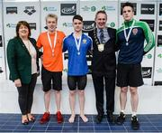 8 April 2017; Mary Dunne, Swim Ireland President, and Cllr Darragh Butler, Mayor of Fingal County Council, with the Men's 200m Backstroke medallists, from left, Sean Scannell of Kilkenny Swim Club, Co. Kilkenny, silver, Conor Ferguson of Bangor Swim Club, Co. Down, gold, and Rory McEvoy, NCL Ennis, Co. Clare, bronze, during the 2017 Irish Open Swimming Championships at the National Aquatic Centre in Dublin. Photo by Seb Daly/Sportsfile