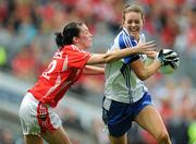 25 September 2011; Amanda Casey, Monaghan, in action against Grace Kearney, Cork. TG4 All-Ireland Ladies Senior Football Championship Final, Cork v Monaghan, Croke Park, Dublin. Picture credit: Brian Lawless / SPORTSFILE