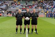 18 September 2011; Referee Padraig Hughes, Armagh, with linesmen Barry Cassidy, Derry, left, and Michael Duffy, Sligo, right. GAA Football All-Ireland Minor Championship Final, Tipperary v Dublin, Croke Park, Dublin. Picture credit: Stephen McCarthy / SPORTSFILE