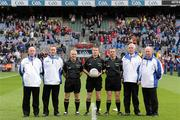18 September 2011; Referee Padraig Hughes, Armagh, with linesmen Barry Cassidy, Derry, left, and Michael Duffy, Sligo, right, and umpires, from left, Pat McGeough, Dermot Hughes, Dessie McDonnell and Martin Moley. GAA Football All-Ireland Minor Championship Final, Tipperary v Dublin, Croke Park, Dublin. Picture credit: Stephen McCarthy / SPORTSFILE