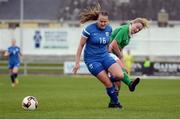 9 April 2017; Elli Pikkujämsä of Finland in action against Saoirse Noonan of Republic of Ireland during the UEFA Women's Under 19 European Championship Elite Round match between Republic of Ireland and Finland at Markets Field, in Limerick. Photo by Eóin Noonan/Sportsfile