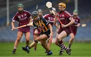 9 April 2017; Julianne Malone of Kilkenny in action against Sarah Dervan of Galway during the Littlewoods National Camogie League semi-final match between Galway and Kilkenny at Semple Stadium in Thurles, Co. Tipperary. Photo by David Fitzgerald/Sportsfile