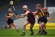 9 April 2017; Niamh Hanniffy of Galway in action against Anne Dalton of Kilkenny during the Littlewoods National Camogie League semi-final match between Galway and Kilkenny at Semple Stadium in Thurles, Co. Tipperary. Photo by David Fitzgerald/Sportsfile
