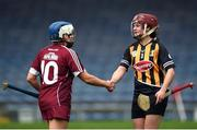 9 April 2017; Anne Dalton of Kilkenny shakes hands with Ailish O'Reilly of Galway following the Littlewoods National Camogie League semi-final match between Galway and Kilkenny at Semple Stadium in Thurles, Co. Tipperary. Photo by David Fitzgerald/Sportsfile