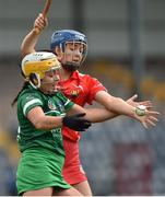 9 April 2017; Karen O'Leary of Limerick in action against Orla Cronin of Cork during the Littlewoods National Camogie League semi-final match between Cork and Limerick at Pairc Ui Rinn, in Cork. Photo by Matt Browne/Sportsfile