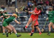 9 April 2017; Amy O'Connor of Cork has her shot at goal blocked by Muireann Creamer and Sinead McNamara of Limerick during the Littlewoods National Camogie League semi-final match between Cork and Limerick at Pairc Ui Rinn, in Cork. Photo by Matt Browne/Sportsfile