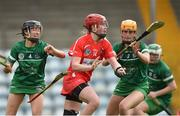 9 April 2017; Niamh McCarthy of Cork in action against Mairead Ryan, left, and Muireann Creamer of Limerick during the Littlewoods National Camogie League semi-final match between Cork and Limerick at Pairc Ui Rinn, in Cork. Photo by Matt Browne/Sportsfile