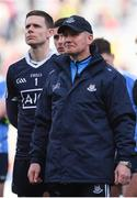 9 April 2017; Dublin manager Jim Gavin and goalkeeper Stephen Cluxton watch the cup presentation following the Allianz Football League Division 1 Final match between Dublin and Kerry at Croke Park in Dublin. Photo by Stephen McCarthy/Sportsfile