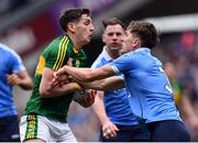 9 April 2017; Paul Geaney of Kerry is tackled by Michael Fitzsimons of Dublin during the Allianz Football League Division 1 Final between Dublin and Kerry at Croke Park in Dublin. Photo by Ramsey Cardy/Sportsfile