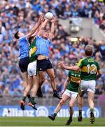 9 April 2017; Brian Fenton, left, and Ciaran Kilkenny of Dublin in action against Jack Barry of Kerry during the Allianz Football League Division 1 Final between Dublin and Kerry at Croke Park in Dublin. Photo by Ramsey Cardy/Sportsfile
