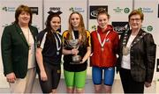 9 April 2017; Mary Dunne, Swim Ireland President, and Cllr Eithne Loftus, Deputy Mayor of Fingal County Council, with the Women's 200m Individual Medley medallists, from left, Ellen Walshe, Templeogue Swim Club, Dublin, silver, Shannon Russell of Lurgan Swim Club, Co. Armagh, gold, and Rebecca Reid of Ards Swim Club, Co. Down, bronze, during the 2017 Irish Open Swimming Championships at the National Aquatic Centre in Dublin. Photo by Seb Daly/Sportsfile