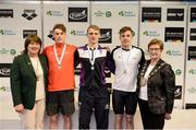 9 April 2017; Mary Dunne, Swim Ireland President, and Cllr Eithne Loftus, Deputy Mayor of Fingal County Council, with the Men's 200m Individual Medley medallists, from left, Ben Griffin, of NCD Trojan Swim Club, silver, James Brown of Ards Swim Club, Co. Down, gold, and Alan Corby of NCL Limerick, Co. Limerick, bronze, during the 2017 Irish Open Swimming Championships at the National Aquatic Centre in Dublin. Photo by Seb Daly/Sportsfile