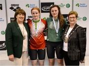 9 April 2017; Mary Dunne, Swim Ireland President, and Cllr Eithne Loftus, Deputy Mayor of Fingal County Council, with the Women's 50m Backstroke medallists, from left, Danielle Hill of Larne Swim Club, Co. Antrim, gold, and Kate Kavanagh of UCD, Co. Dublin, during the 2017 Irish Open Swimming Championships at the National Aquatic Centre in Dublin. Photo by Seb Daly/Sportsfile