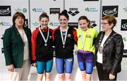 9 April 2017; Mary Dunne, Swim Ireland President, and Cllr Eithne Loftus, Deputy Mayor of Fingal County Council, with the Women's 1500m Freestyle medallists, from left, Leah Bethal of Lisburn Swim Club, Co. Antrim, silver, Leah Bethal of Lisburn Swim Club, Co. Antrim, gold, and Jessica Gannon of Comans Swim Club, Co. Roscommon, bronze, during the 2017 Irish Open Swimming Championships at the National Aquatic Centre in Dublin. Photo by Seb Daly/Sportsfile
