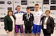 9 April 2017; Mary Dunne, Swim Ireland President, and Cllr Eithne Loftus, Deputy Mayor of Fingal County Council, with the Men's 50m Backstroke medallists, from left, David Prendergast, UCD Swim Club, Dublin, silver, Conor Ferguson of Bangor Swim Club, Co. Down, gold, and Louis Dulondel of Viking Swim Club, Rouen, during the 2017 Irish Open Swimming Championships at the National Aquatic Centre in Dublin. Photo by Seb Daly/Sportsfile