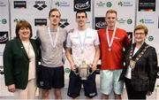 9 April 2017; Mary Dunne, Swim Ireland President, and Cllr Eithne Loftus, Deputy Mayor of Fingal County Council, with the Men's 200m Breaststroke medallists, from left, Daniel Lim of Edinburgh University, silver, Nicholas Quinn of Castlebar Swim Club, Co. Mayo, gold, and Dan Sweeney of Sundays Well, Co. Cork, bronze, during the 2017 Irish Open Swimming Championships at the National Aquatic Centre in Dublin. Photo by Seb Daly/Sportsfile