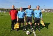 8 April 2017; Referee John Walsh with his officials ahead of the FAI Junior Cup Semi Final in association with Aviva and Umbro, at Mastergeeha FC in Killarney, Co. Kerry. Photo by Ramsey Cardy/Sportsfile
