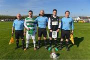 8 April 2017; Team captains Paul Murphy of Sheriff YC and John McDonagh of Killarney Celtic with referee John Walsh and his officials ahead of the FAI Junior Cup semi final match between Killarney Celtic and Sheriff YC, in association with Aviva and Umbro, at Mastergeeha FC in Killarney, Co. Kerry. Photo by Ramsey Cardy/Sportsfile