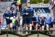 9 April 2017; Dublin captain Stephen Cluxton leads his team out ahead of the Allianz Football League Division 1 Final between Dublin and Kerry at Croke Park in Dublin. Photo by Ramsey Cardy/Sportsfile