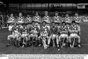 1 September 1985; The Offaly team. Back row, from left, Pat Fleury, Joachim Kelly, Tom Conneelly, Eugene Coughlan, Pat Delaney, Joe Dooley, Padraig Horan, Aidan Fogarty. Front row, from left, Danny Owens, Brendan Bermingham, Pat Cleary, Ger Coughlan, Jim Troy, Mark Corrigan and Paddy Corrigan. All Ireland Senior Hurling Championship Final, Offaly v Galway, Croke Park, Dublin. Picture credit; Connolly Collection / SPORTSFILE