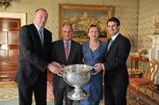 27 September 2011; Dublin captain Bryan Cullen and manager Pat Gilroy with President Mary McAleese and her husband Senator Martin McAleese during the All-Ireland Football Champions visit to Áras an Uachtaráin, Phoenix Park, Dublin. Picture credit: Ray McManus / SPORTSFILE